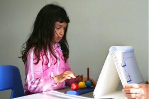 9 Year Old Participant Taking Study Test