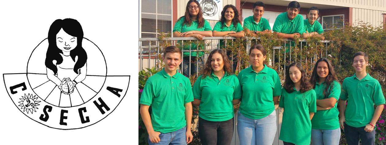 COSECHA Youth Researchers in Front of CHAMACOS Office with Logo