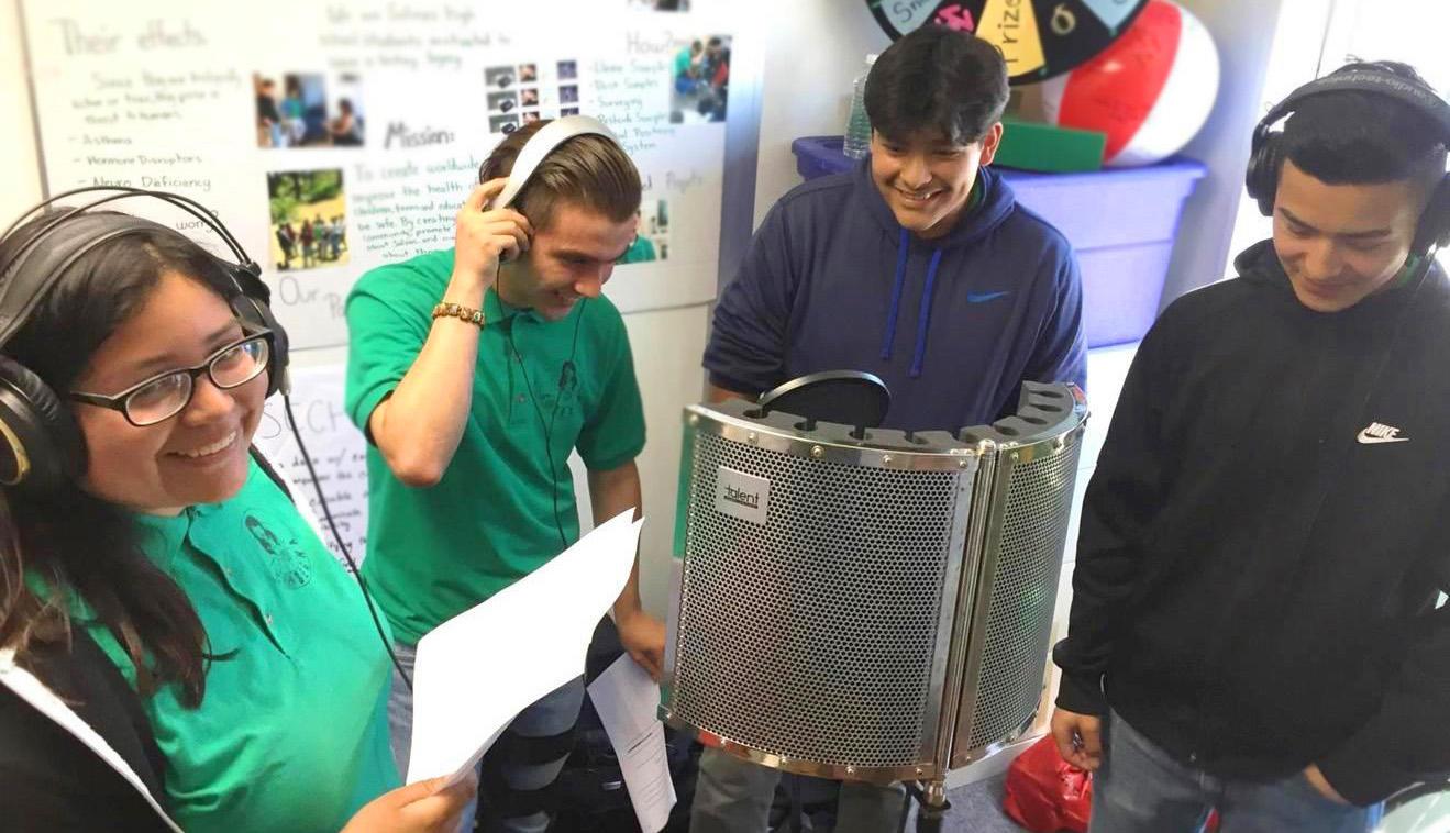 Youth Recording Radio Novella on Pesticide Safety