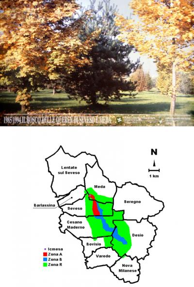 Seveso Memorial Park and Affected Zone Map